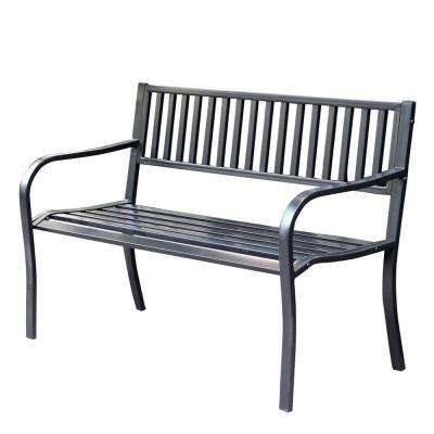 50 in. Strap Curved Back Steel Park Bench
