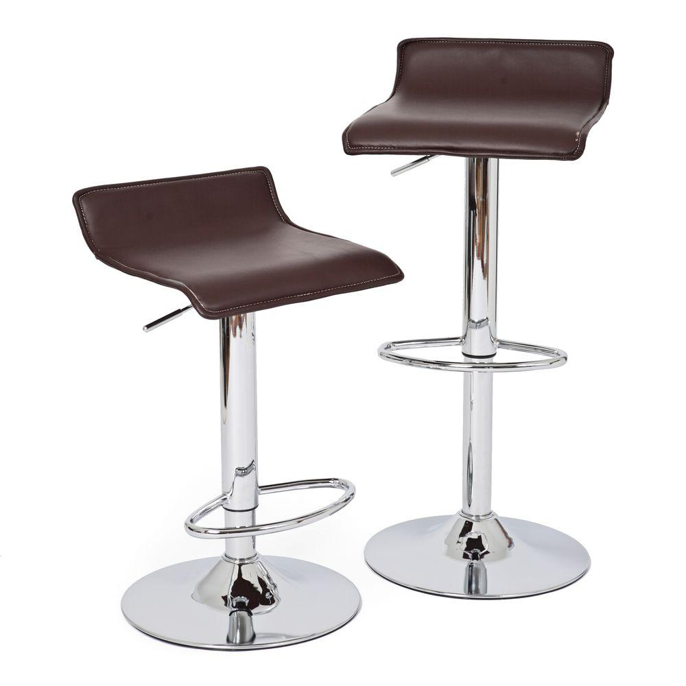 RST Living Klein Adjustable Height Chrome Swivel Cushioned Bar Stool