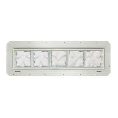 39.25 in. x 9.25 in. x 3.25 in. Wave Pattern Glass Block Window with White Colored Vinyl Nailing Fin