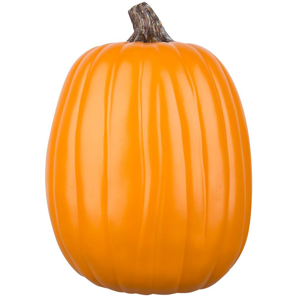 Home Accents Holiday 13 in. Pumpkin Craft Orange with Dark Stem