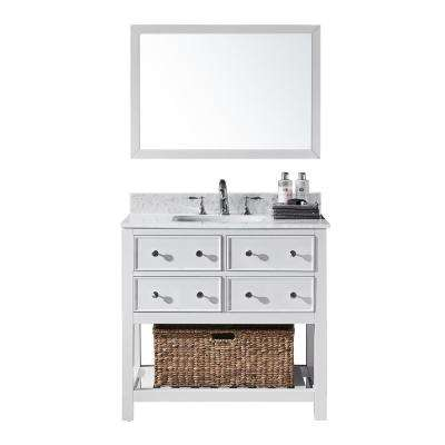 Elodie 36 in. W x 22 in. D x 34.21 in. H Bath Vanity in White w/ Marble Vanity Top in White w/ White Basin and Mirror
