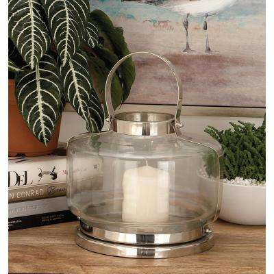 12 in. Silver Stainless Steel and Clear Glass Wide Round Lantern Candle Holder with Arched Wire Handle