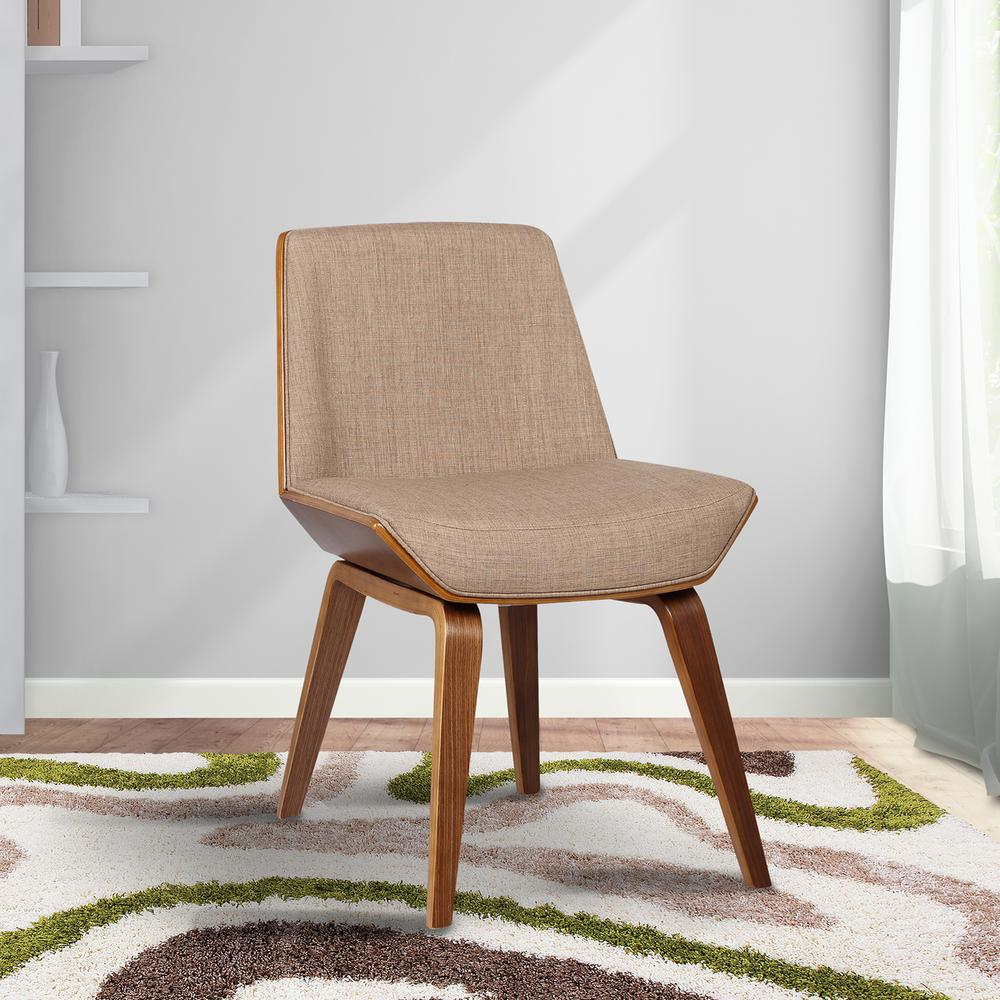 b23ffd3f024a4 Agi 30 in. Beige Fabric and Walnut Wood Finish Mid-Century Dining Chair