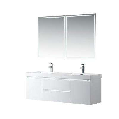 Annecy 60 in. W x 18.5 in. D x 20 in. H Bathroom Wall Hung LED Vanity in White w/ Double Basin Vanity Top in White Resin