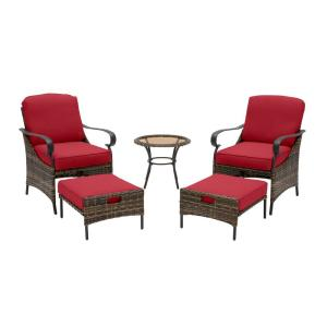 Layton Pointe 5-Piece Brown Wicker Outdoor Patio Conversation Seating Set with CushionGuard Chili Red Cushions