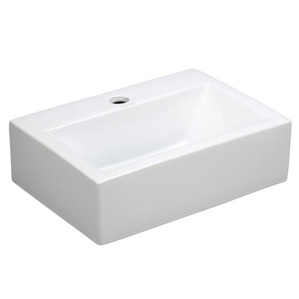 Beau Elanti Wall Mounted Rectangle Bathroom Sink In White
