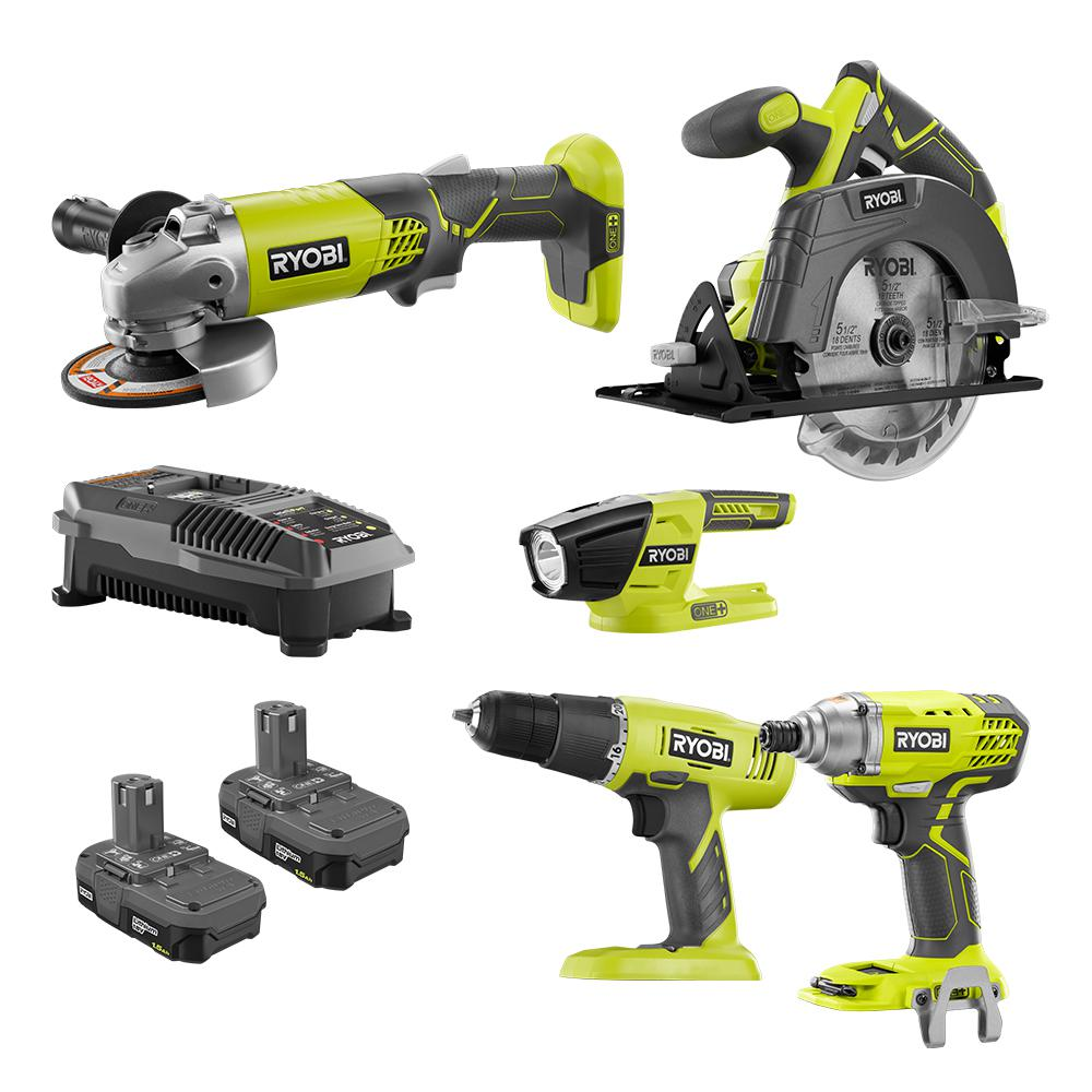ryobi 18 volt one 5 tool combo kit with drill circular saw grinder impact driver light 2. Black Bedroom Furniture Sets. Home Design Ideas