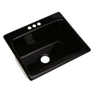 Kensington Drop-In Acrylic 25 in. 3-Hole Single Bowl Utility Sink in Black