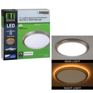 11 in. 14W Brushed Nickel Beveled Edge Color Changing LED Flush Mount with Night Light Feature Ceiling Light Dimmable