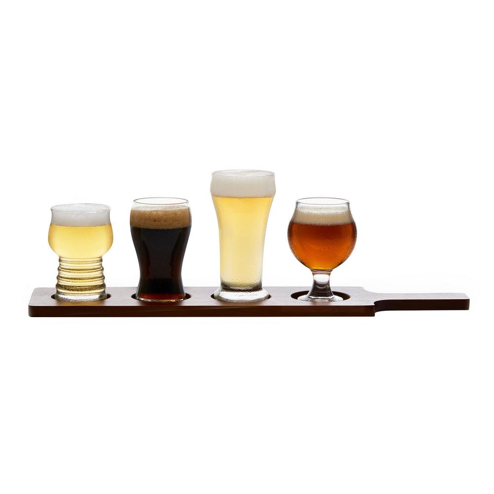 Craft Brews 5-Piece Beer Tasting Glass Set with Wood Carrier
