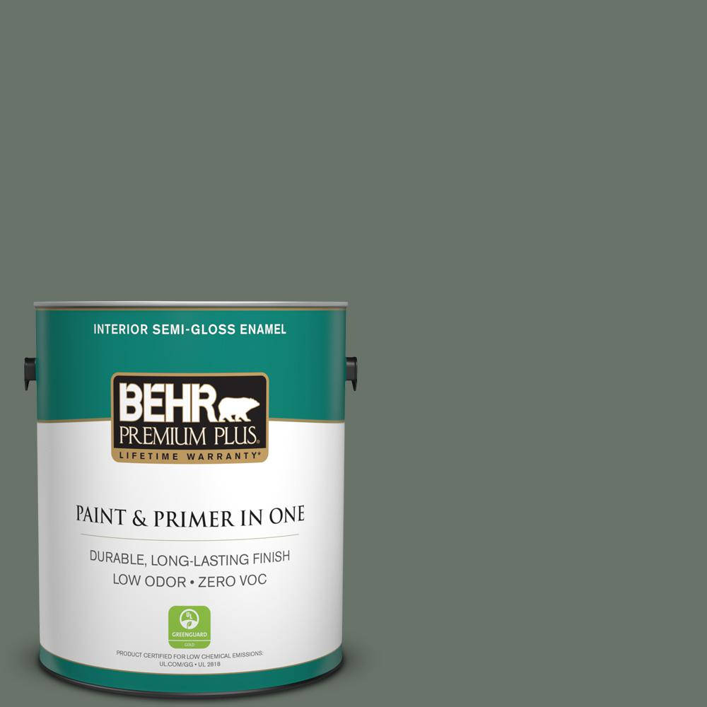 1-gal. #BXC-72 Evergreen Trail Semi-Gloss Enamel Interior Paint