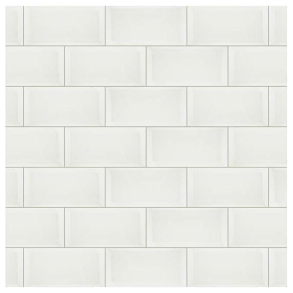 Santorini Biselado Blanco 4 in. x 7-7/8 in. Ceramic Subway Wall Tile (12 sq. ft. / case)
