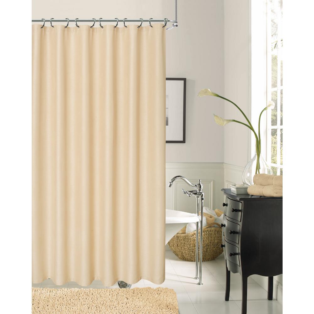 Crocodile 72 inch Ivory Fabric Shower Curtain by