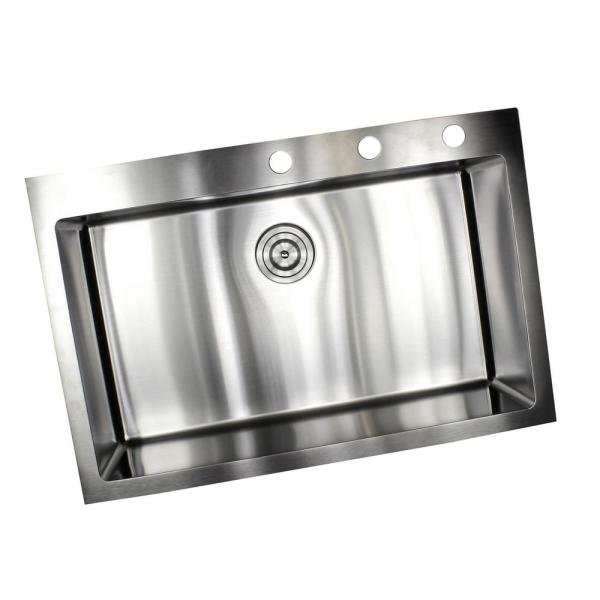 Unbranded Drop In Top Mount 16 Gauge Stainless Steel 33 In X 22 In X 10 In Single Bowl Kitchen Sink Rt3322 The Home Depot