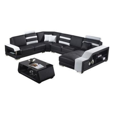Luxury 5- Piece Black and White Leather U Shape Symmetrical Sectionals with Coffee Table, Chaise, Pillows and Bookshelf