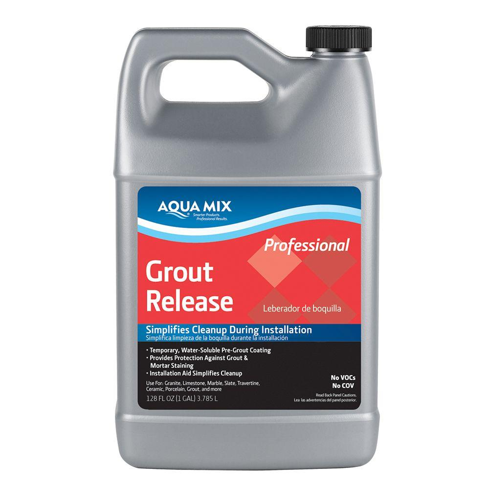 Custom Building Products Aqua Mix 1 Gal. Grout Release, Clear Custom Building Products Aqua Mix Grout Release is a temporary, water soluble, pre-grout coating. It provides protection against grout and mortar staining. Product ensures easy grout cleanup. Color: Clear.