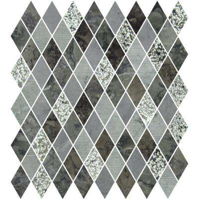 Marble Medley Grigio Diamond 12 in. x 12 in. x 7.9 mm Mixed Finish Marble Mesh-Mounted Mosaic Tile