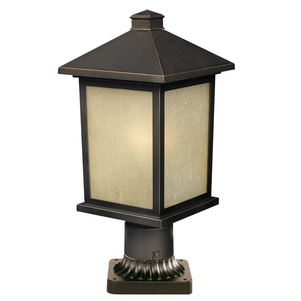 1-Light Outdoor Olde Rubbed Bronze Post Light