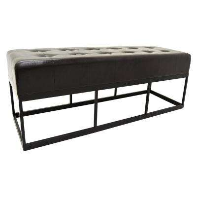 Brown Bench with Metal Frame