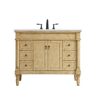 Timeless Home 42 in. W x 21.5 in. D x 35 in. H Single Bathroom Vanity in Antique Beige with White Marble Top and Basin