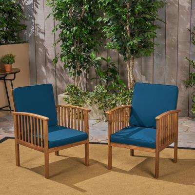 Casa Acacia Brown Patina Wood Outdoor Lounge Chairs with Dark Teal Cushions (2-Pack)