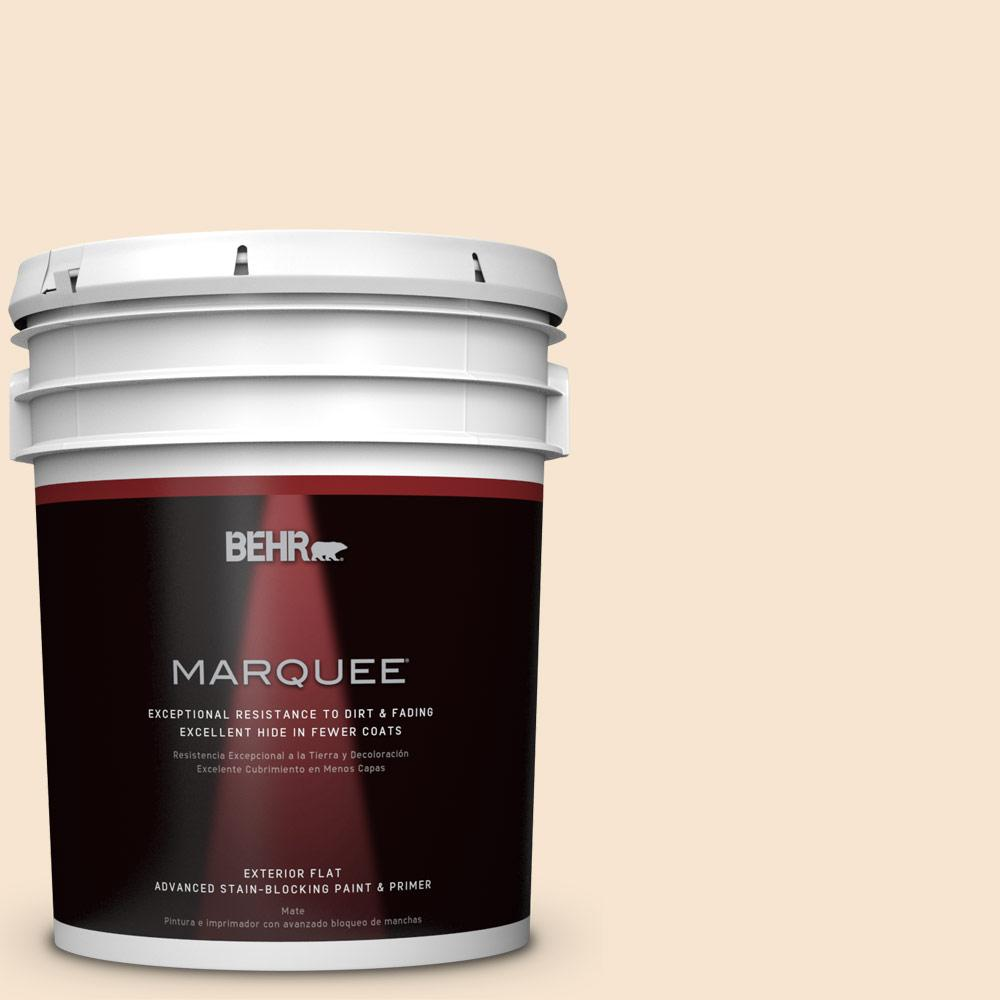 BEHR MARQUEE 5-gal. #OR-W3 Mannequin Cream Flat Exterior Paint