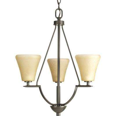 Bravo Collection 3-Light Antique Bronze Foyer Pendant with Umber Linen Glass
