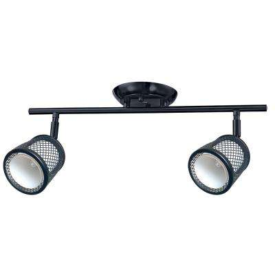 Baltimore 17.7 in. 2-Lights Black and Pewter Track Lighting Kit
