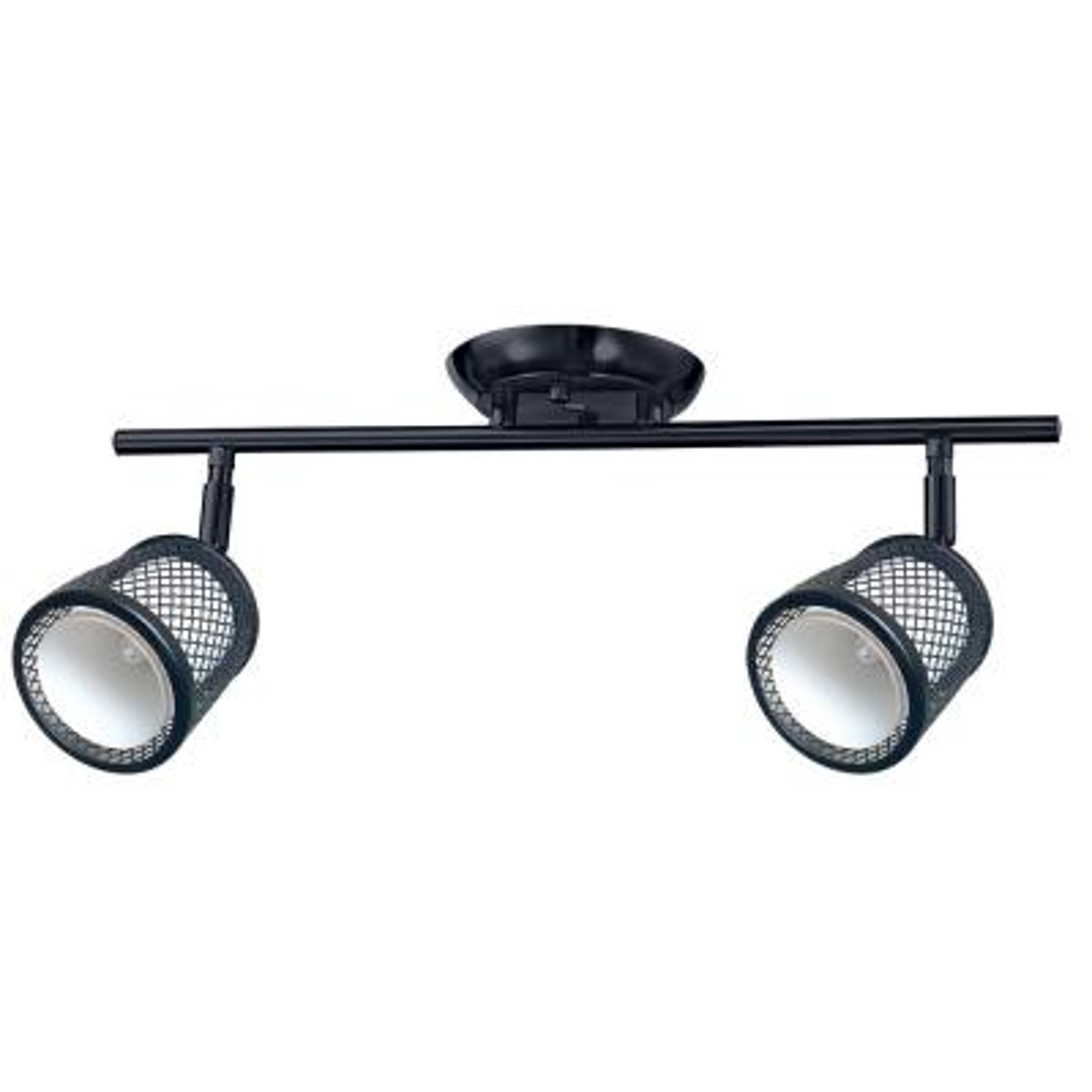 Baltimore 17.7 in. 2-Lights Black and Pewter Track Lighting Kit