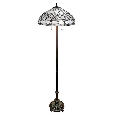 62 in. Royal White Tiffany Style Floor Lamp