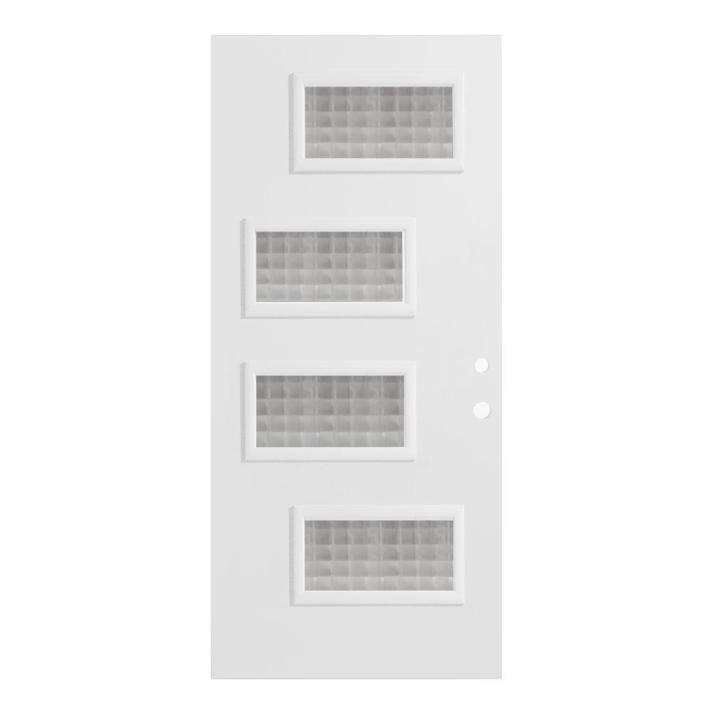 33.375 in. x 82.375 in. Beatrice Carre 4 Lite Painted White