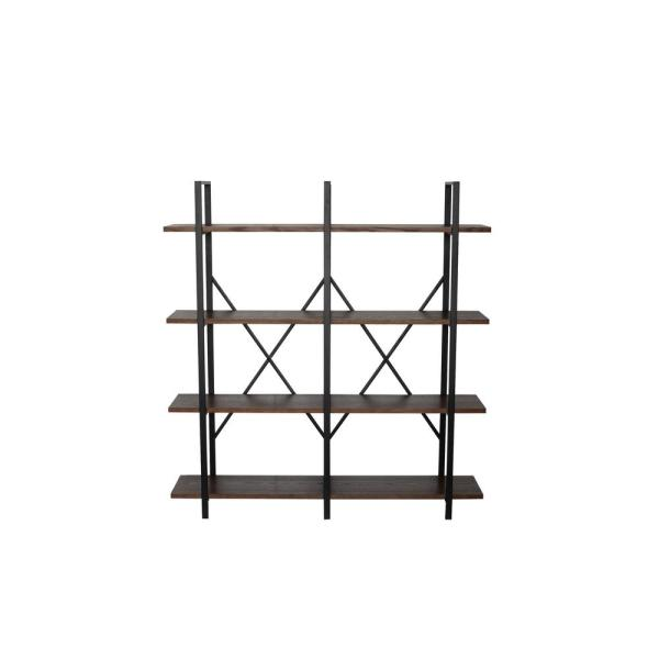 64 in. Walnut Brown Metal 4-shelf Etagere Bookcase with Open Back