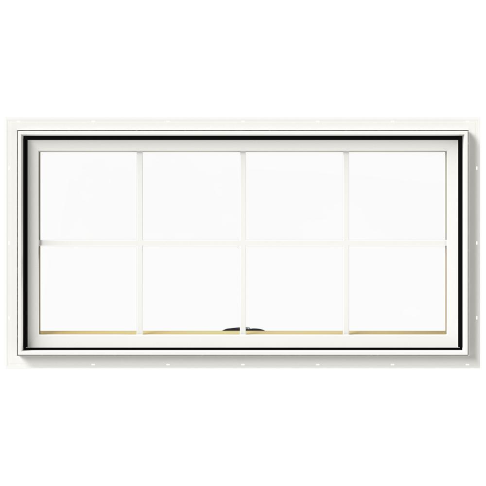 JELD-WEN 48 in. x 24 in. W-2500 Series White Painted Clad Wood Awning Window w/ Natural Interior and Screen