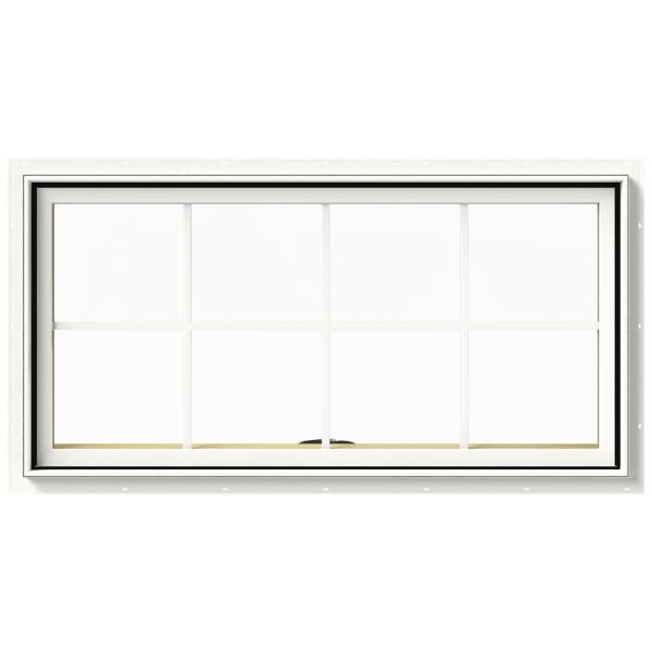 48 in. x 24 in. W-2500 Series White Painted Clad Wood Awning Window w/ Natural Interior and Screen