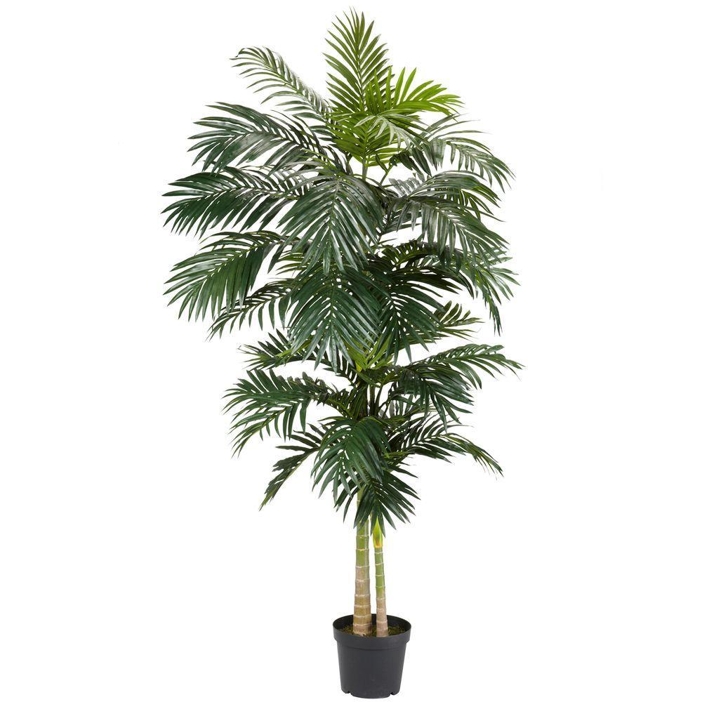 8 ft. Green Golden Cane Palm Silk Tree