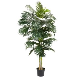 Nearly Natural 8 Ft Green Golden Cane Palm Silk Tree 5326