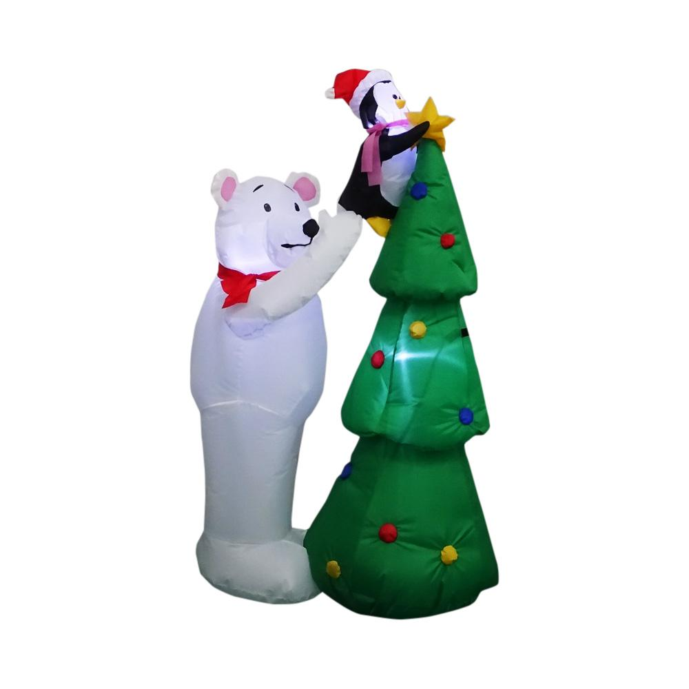pre lit inflatable polar bear and penquin decorating tree airblown