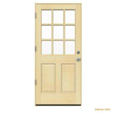 30 in. x 80 in. 9-Lite Unfinished Wood Prehung Right-Hand Outswing Front Door w/Unfinished AuraLast Jamb and Brickmold