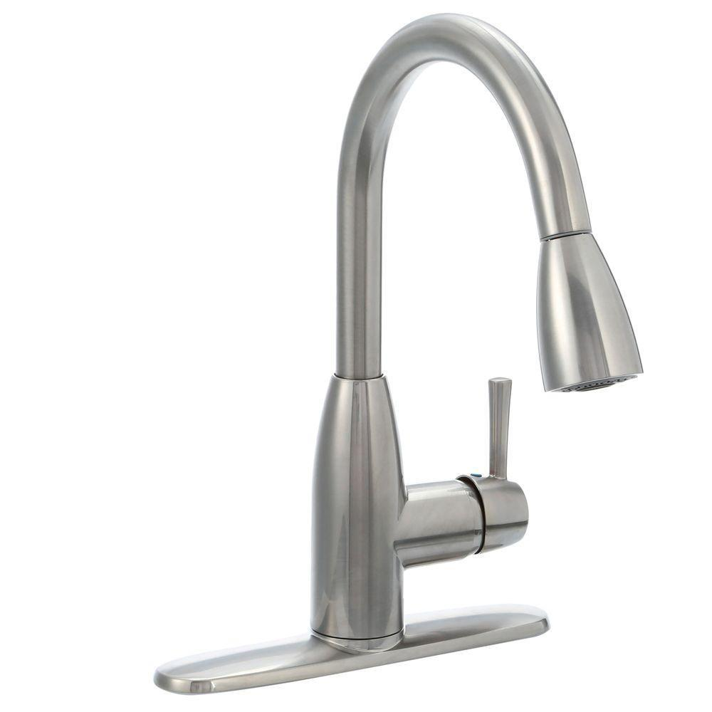 down faucets stainless home faucet with selctflo depot p the american kitchen edgewater pull in standard single sprayer handle steel spray