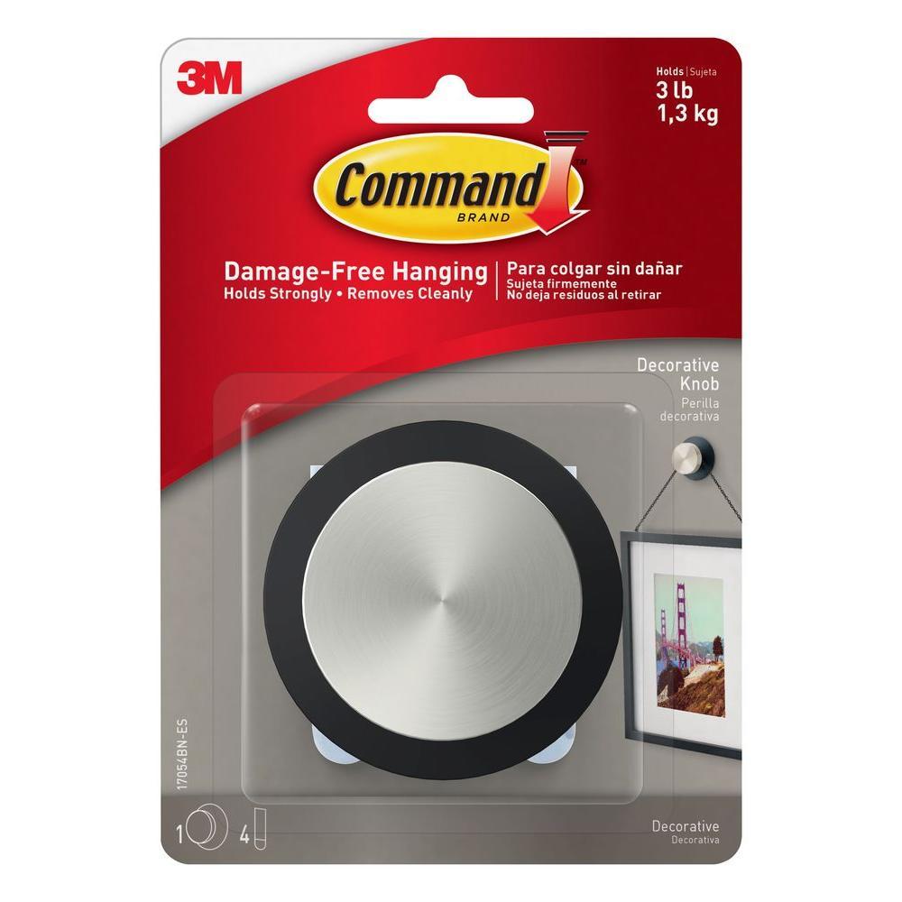 Command Round Decorative Picture Hanging Knob 1 Knob 4 Adhesive Strips 17054bn Es