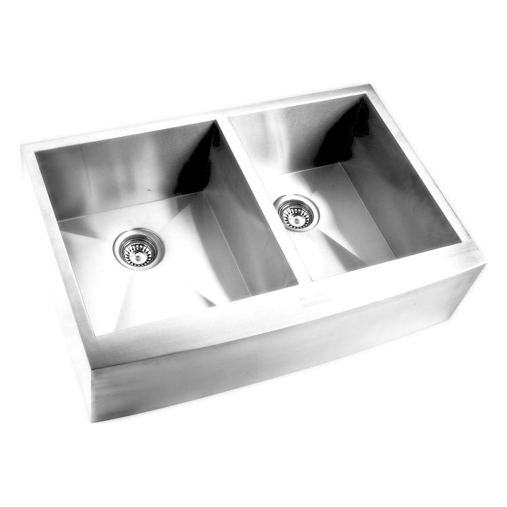 Y Decor Hardy Apron Front Stainless Steel 32 in. 60/40 Double Bowl on cast iron undermount double sink, 24 x 16 sink, 70 30 undermount stainless steel sink, hammered copper farmhouse sink, copper bowl sink, 24 bathroom vanity with sink,