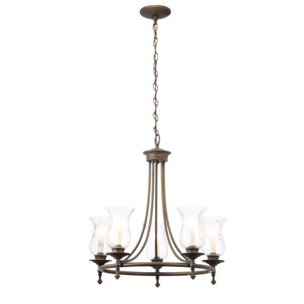 Grace 5-Light Rubbed-Bronze Chandelier with Seeded Glass Shades
