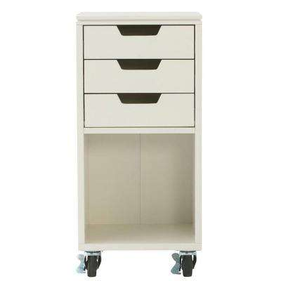 Avery 13 in. W 3-Drawer MDF Single Bin Mobile Cart in White