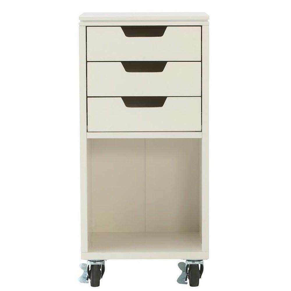 Avery 13 in. W 3-Drawer MDF Single Bin Mobile Cart in White