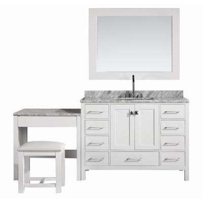 London 48 in. W x 22 in. D Vanity in White with Marble Vanity Top in Carrara White, Mirror and Makeup Table