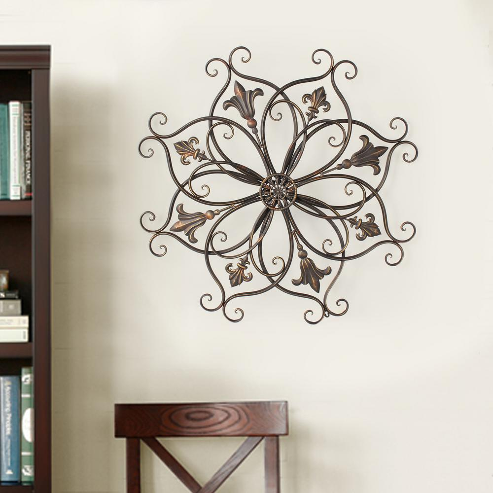 37 in. x 37 in. Round Metal Wall Decor