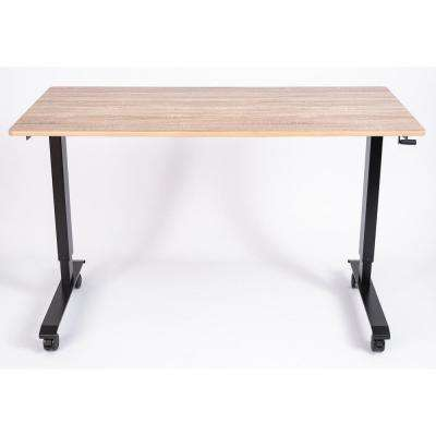 60 in. Black/White Oak High Speed Crank Adjustable Stand Up Desk
