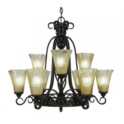 9-Light Dark Granite Chandelier with Amber Crystal Glass Shade