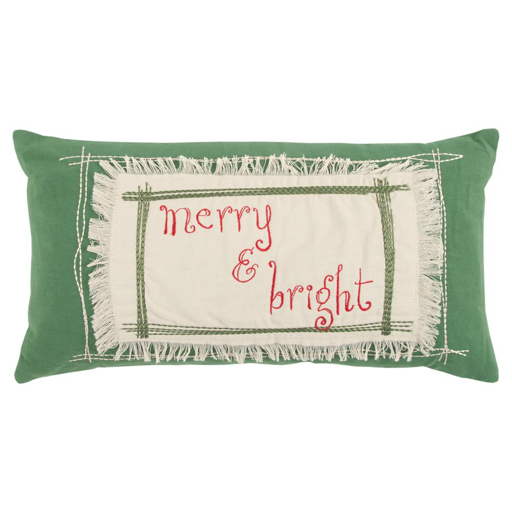 Rizzy Home Merry and Bright 11 in. x 21 in. Decorative Filled Pillow-PILT13337GR001121 - The ...