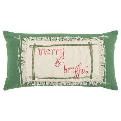 Merry and Bright 11 in. x 21 in. Decorative Filled Pillow
